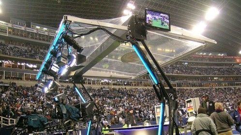 NFL Network retractable end zone booth at Cowboys vs. Ravens, last game in Texas Stadium