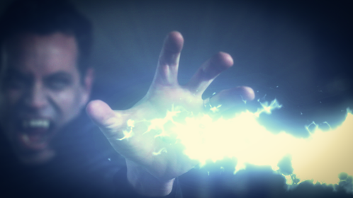 Hades, the vampire, takes a shot at a wizard.