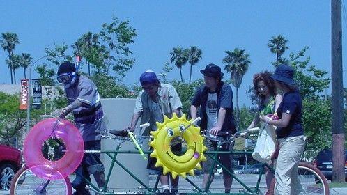 Japanese rock band video shoot with a custom 4 man bike.