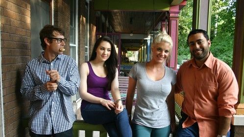 The cast of Chasing Brianna on their set
