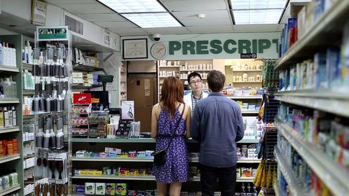 Rob Yang, Rachel Boston, & Noah Bean in a scene from The Pill