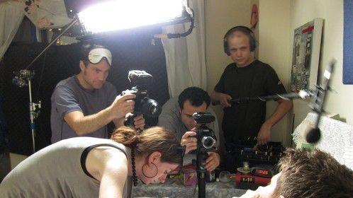 DP Andreas von Scheele, Makeup Artist Jessica Jade Jacob, Director J.C. Khoury, and Sound Mixer Matthew Kraus make The Pill