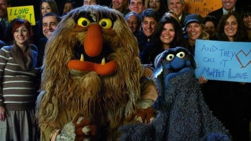 Mike's cameo in the Muppets film (to the left of Sweetums)