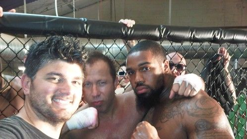 On set for a MMA fight