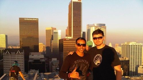 My self and my Stunt Rigger Hank Kingi for P Diddy and Usher video