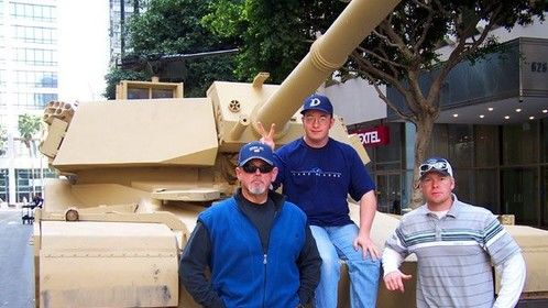 Dragon Wars made history rolling live tanks through downtown L.A. I am with Boom Op Keith Birchfiel, and Utility Derrick Cloud