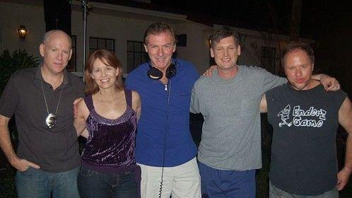 "Tim Powell, Elizabeth Fendrick, Art, Rus Blackwell, Alan Lilly on the set of ""The Mess"".  2008"
