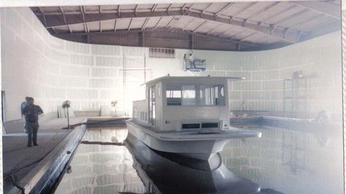 Houseboat and soundstage for CAPE FEAR - hand drawn