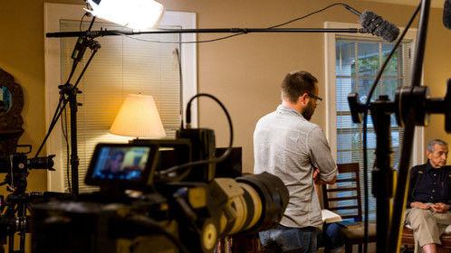 "Talking with Ken during a break of shooting ""The Journey of Ajahn Ken."""