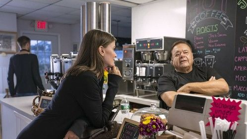 Detours star & producer Tara Westwood with Paul Sorvino, who plays both the GPS and coffee shop owner Joe DiMaria