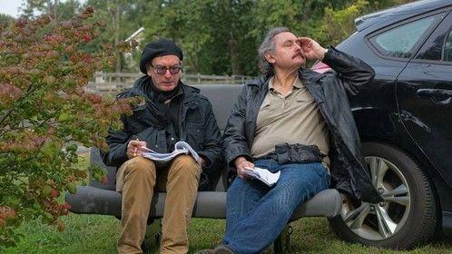 Director Rob McCaskill (left) working with leading man Carlo Fiorletta.