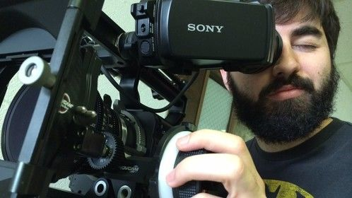 Operating a Sony F-55.
