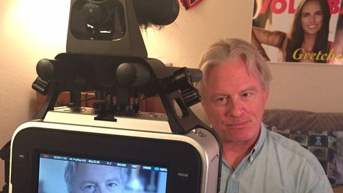 On the set in front of the Black Magic shooting a film for Producer Director Scotty Cornfield in Northern California, January 2015