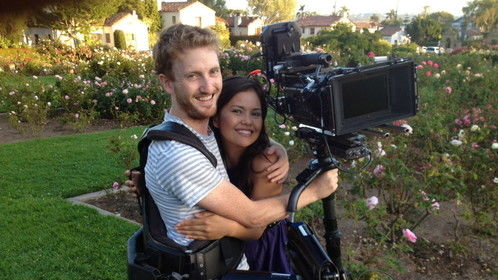 On the set of my 1st short, the amazing Steadicam operator Bryant Swanstrom and the star, Maria Louisa.