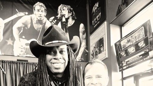 doing photo shoot at the AFME Randy Castillo Documentary event at the Rock & Brews Cafe