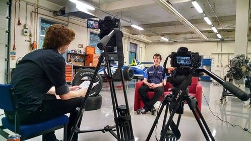 Shooting interviews in the workshop at the Telford Innovation Campus (09/01/2015)