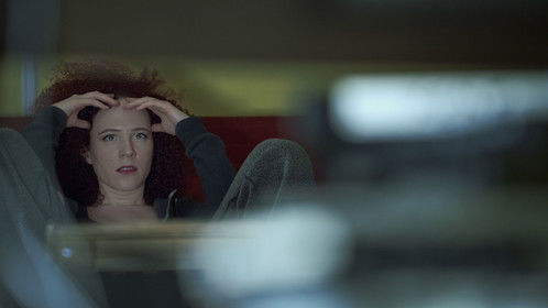 Jennifer (Sarah Schoofs) is stressed - Promotional Still from shooting Meme January 2015