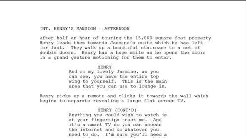 HENRY - Story line = JASMINE Henry giving Jasmine and Priscilla a tour of Jasmine's suite