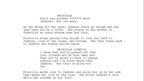 PRISCILLA/JASMINE - Story line = JASMINE Priscilla threatens Jasmine to keep the abuse hidden