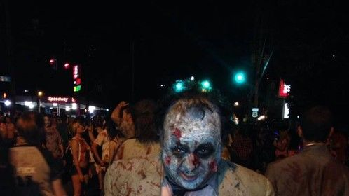 Playing zombie at the Louisville Zombie Walk 2014.