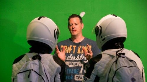 Director/ Writer/ DP/ Editor/ VFX David Easton helps James McCabe and Lisa Ronaghan visualise on the green screen set.