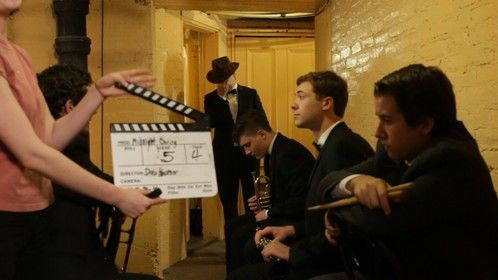 On set for the Midnight Swing sizzle reel