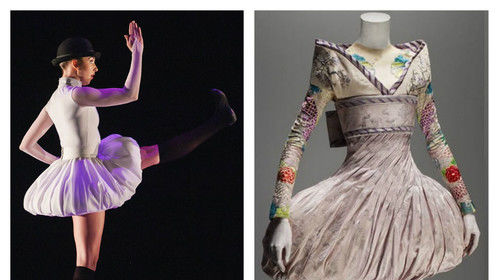 """One year ago I designed the costumes for Sarah Tallman's """"Son of Man"""" ballet. My costume design was inspired by a picture she brought in of Alexander McQueen's Kimono Bubble Dress from his """"Savage Beauty"""" line. Seemingly a simple skirt design, it was pretty difficult to interpret for ballet and execute. But it was a VERY fun challenge and my favorite show last season. (Photo: Amanda Tipton, Choreography: Sarah Tallman, Dancer: Meredith Strathmeyer Worobec)"""