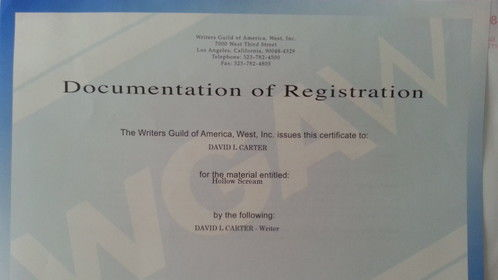 WGA registration for my screenplay HOLLOW SCREAM.