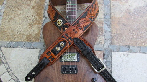 Made this guitar strap for the Owner of CACT-EYE Guitars in May, 2016 just to avoid writing.  The guitar by the way, was custom built by CACT-EYE for my son Griffin as a sort of take off on the Fender Telecaster.