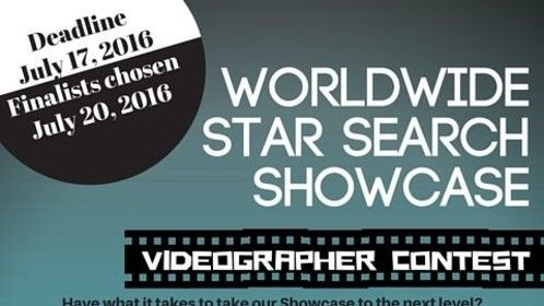 Videographer Contest!  Have you got what it takes to take our Showcase to the next level? Show us what you've got! Submit your reel, links or any samples via 2016wwss@gmail.com or like our flyer on IG (@worldwidestarsearch) or FB (worldwide star search).  Let your friends know, too!  We're looking for creative types who would like to build their reel and show off their awesome work!  You could win $500 and a 1yr contract! The deadline to enter is July 17, 2016. Finalists will be chosen July 20, 2016.  *** Required: You must be in LA on on July 22 - July 24, 2016 and be available from 9am-6pm on all 3 days.