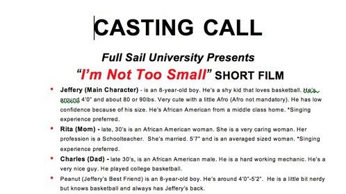 Hey guys, I'm currently in pre-prodcution for my next upcoming film called I'm Not Too Small and we are looking for actors to get things moving. If you or anyone you know is interested please email imnottoosmall@gmail.com for more details. Thanks guys!