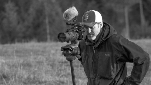 Les Moore filming Long Range Reality on location in Washington state.
