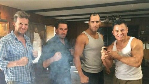 Trying to look tough alongside Scott Adkins, Marko Zaror and Cung le.