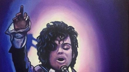 """""""Prince"""", """"Prince Rogers Nelson """", """"Purple Rain"""", """"Film Icon"""", """"Music Icon"""", """"Music Legend"""", """"Singer"""", """"Songwriter"""", """"Icon"""", acrylic on canvas, by Fin Collins, part of The Film Icons Collection www.filmiconsgallery.com"""