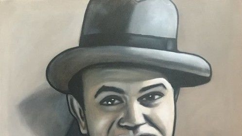 """""""Edward G. Robinson"""", as """"Little Caesar"""", """"Rico"""", in Film """"Little Caesar"""", """"Hollywood Legend"""", """"Film Actor"""", """"Movie Actor"""",acrylic on canvas, by Fin Collins, part of The Film Icons Collection www.filmiconsgallery.com"""