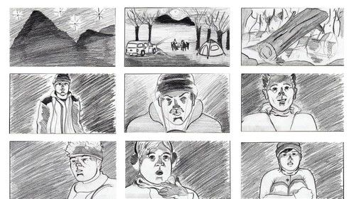Storyboards I did for, KEEPER OF THE MYTH. A Fantasy | Sci-Fi | Horror short about five kids who go camping in the Northern Rocky Mountains and encounter a Mythological Creature  The film screened in 35 film festivals worldwide, garnering fourteen 14 nominations and 2 awards.  The Creature is never seen on-camera. His presence is insinuated through the camera moves, sound design, and score.  Sometimes what is left for our imagination is more frightening than what we actually see.