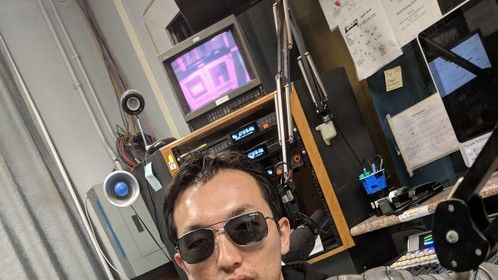 This was me at a radio interview in San Jose, California.