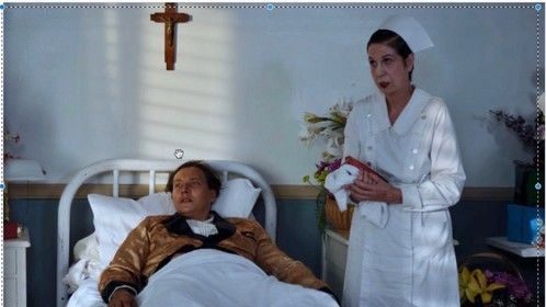 Johanna Marshall as Head Nurse Gertrude and Vlad Kozlov as Rudolph Valentino in the upcoming feature film SILENT LIFE directed. by Vlad Kozlov. ;to premiere in 2019.
