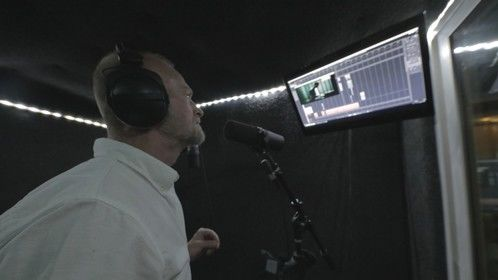 Voice over film narration for feature film and trailer [NDA, post-production] at Square One Studios, owner Dusten Boles and film director/producer Adam Bearly.