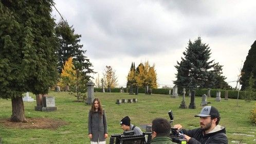 """Mountain View Cemetery, Vancouver, BC. On the set of """"The Shop Around the Corner."""""""