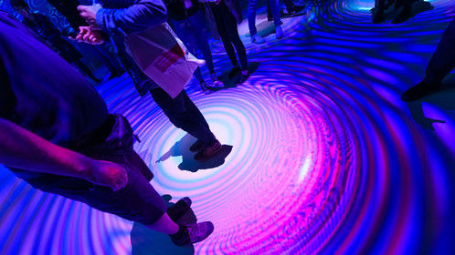 Interactive interlude where the audience walks through the quantum field at Ars Electronica Festival 2019, Deep Space 8k.