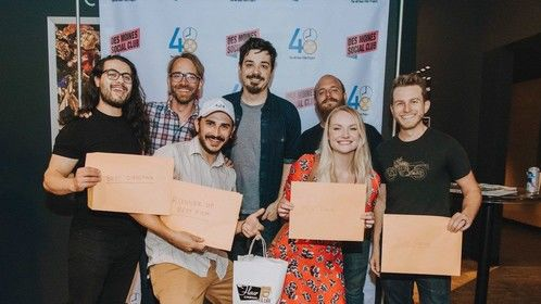Gabriel Tejeda-Benitez, Arnie DeWitt III, Bruce James Bales, Justin Norman, Nick Ford, Emily Kincaid, and Eric Allan at the 48 Hour Film Project Des Moines 2018, winning Runner Up Best Film, Best Director, Best Actor, Best Use of Line, and Audience Choice.