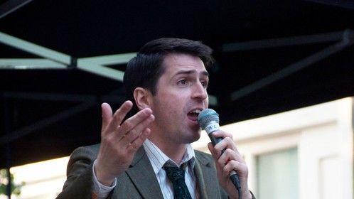 Performing as compere of the Entertainment stage in Soho, London.