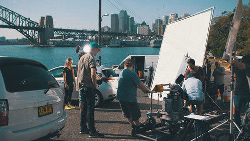 On location in Sydney riding a dolly