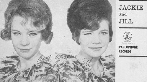 """Parlaphone Publicity Postcard to promote Jackie and Jill's record - """"Loved By You"""" on the A side and """"Who's There"""" on the B side."""