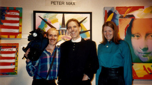 DP Mark Schulze, Peter Max and Patty Mooney who took up Mr. Max on his offer to trade art for video