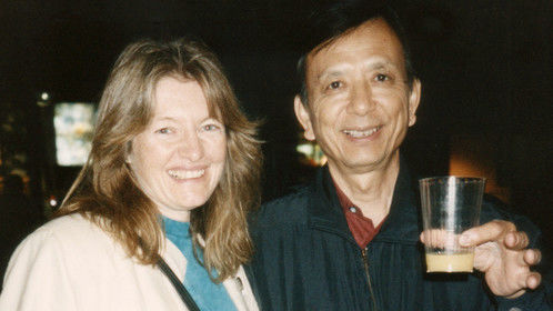 """Video producer Patty Mooney with actor James Hong """"Seinfeld, table for four?"""""""