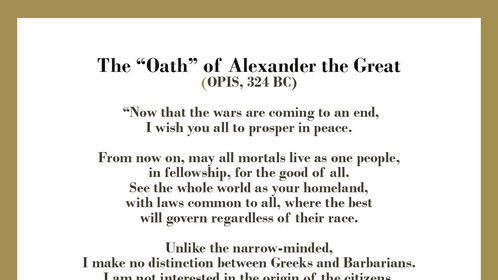 """Ahead of his time. """"Alexander - The Great"""" Oath..."""