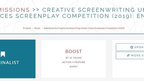 Boost selected as a Creative Screenwriting Semi-Finalist