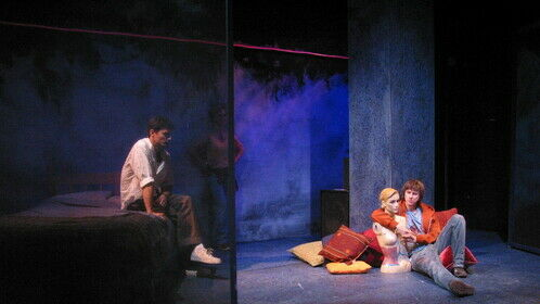 Shoreditch Madonna by Rebecca Lenkiewicz, directed by Sean Matthias, designed Paul Burgess. Cast in this photo: Daniel Rabin and Lee Ingleby